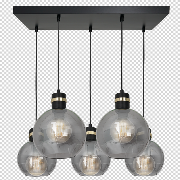 Lampa wisząca OMEGA BLACK / GOLD 5xE27  Prostokąt
